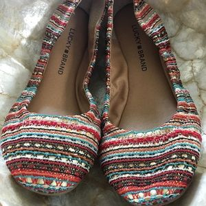 Lucky Brand Emmie Ballet Flats Turquoise Multi 7.5